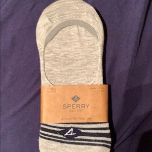Sperry no show socks White and grey pair
